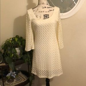 Cream Lace 3/4 Sleeve Dress 🛍🛍